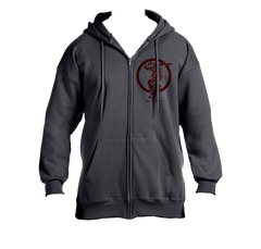 Red Shredding Zip Hooded Sweatshirt