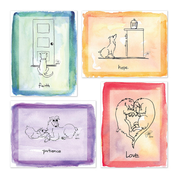 Note Cards: Faith, Hope, Love and Patience (variety pack of 12)