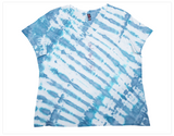 Hand Dyed, Blue, V-neck, Short Sleeve