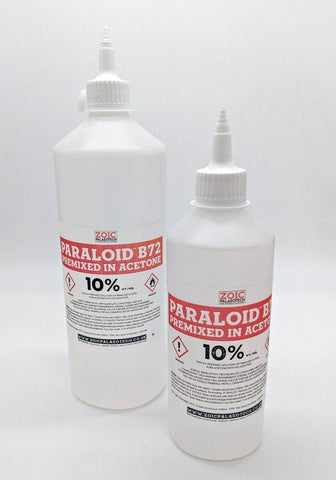 Paraloid B-72 10% solution premixed acetone B72 large quantity easy