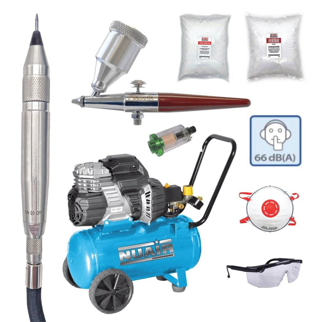 Budget Cheap Affordable Fossil Preparation tools starter kit amateur novice ZOIC trilobite air compressor air abrasive Paasche air eraser silent air compressor kit bundle ST PaleoAro equivalent air scribe air pen complete bundle