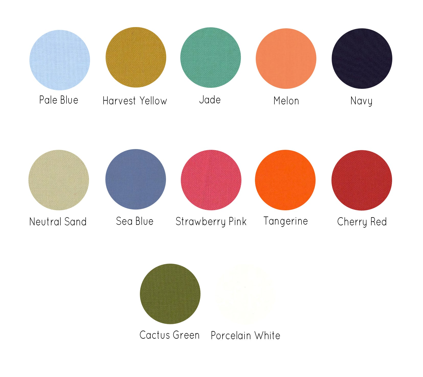 Fabric Backing Colour Choices