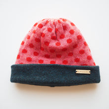 Load image into Gallery viewer, K.Moods Reversible Beanie: bright pink with red polka-dot pattern and a navy band.