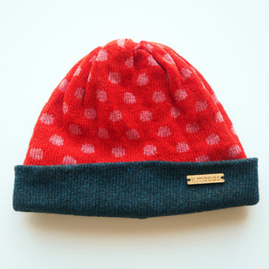 K.Moods Reversible Beanie: bright red with pink polka-dot pattern and a navy band.