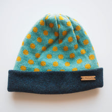 Load image into Gallery viewer, K.Moods Reversible Beanie: bright blue with yellow polka-dot pattern and a navy band.