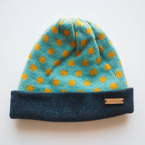 K.Moods Reversible Beanie: bright blue with yellow polka-dot pattern and a navy band.