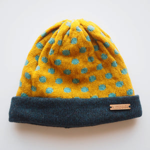 K.Moods Reversible Beanie: bright yellow with blue polka-dot pattern and a navy band.