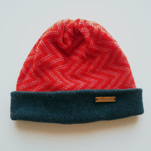 K.Moods Reversible Beanie: bright red with pink zig-zag pattern and a navy band.