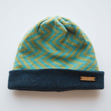 Load image into Gallery viewer, K.Moods Reversible Beanie: bright blue with yellow zig-zag pattern and a navy band.