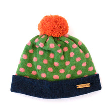 Load image into Gallery viewer, K.Moods Pom-Pom Beanie: bright green with pink polka-dot pattern, a navy band, and an orange pom-pom.