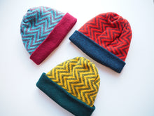 Load image into Gallery viewer, School Days Block Beanie - Maroon/Blue