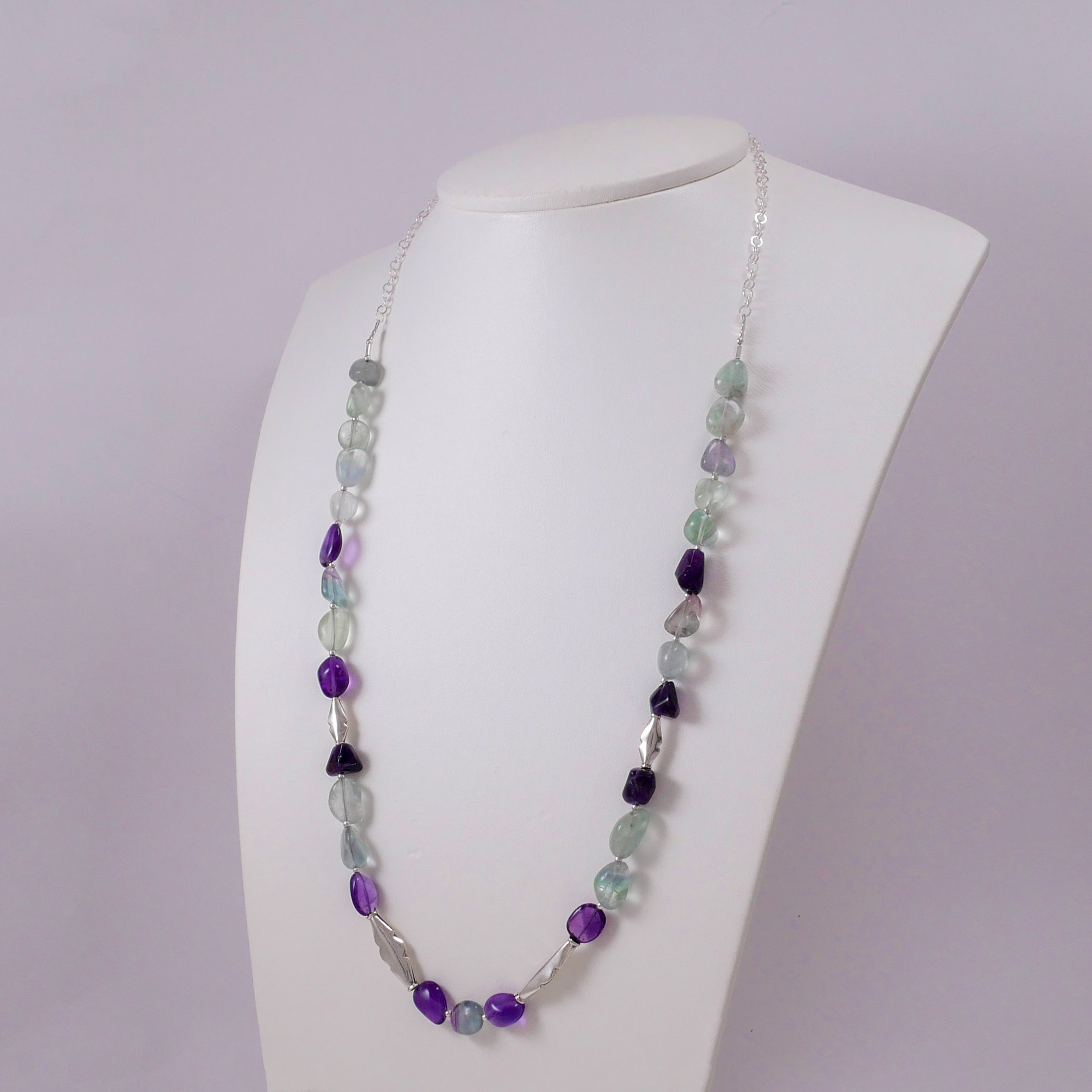Amethysts, Fluorites, and Sterling Silver Necklace - Katerina Roukouna