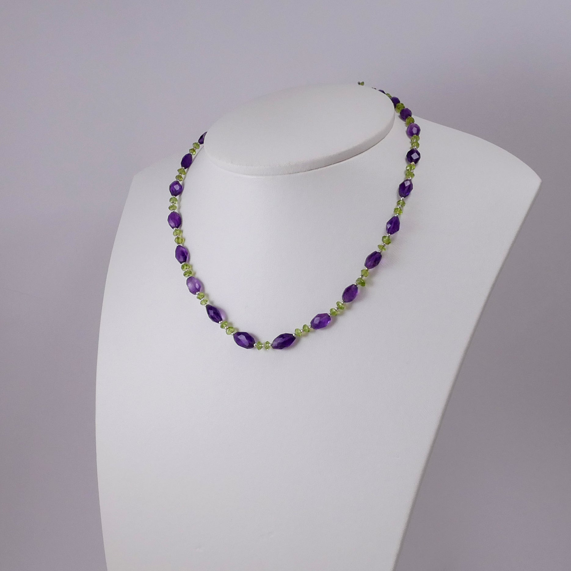 Amethysts, Peridots and Sterling Silver Necklace - Katerina Roukouna