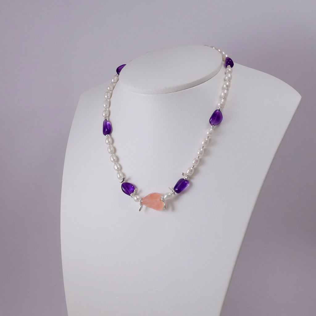 Pearls, Amethysts w' a Rose Quartz Necklace - Katerina Roukouna