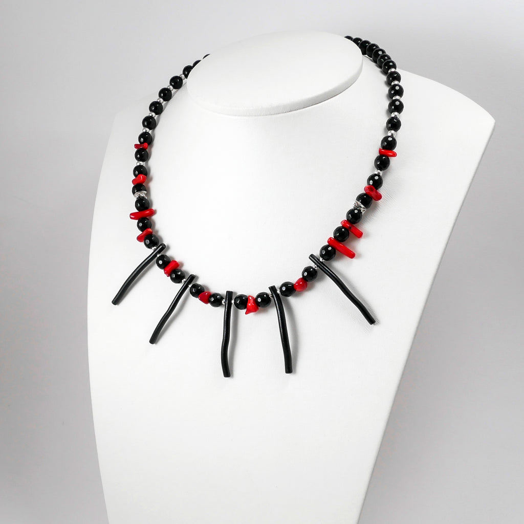 Black & Red Coral Necklace - Katerina Roukouna