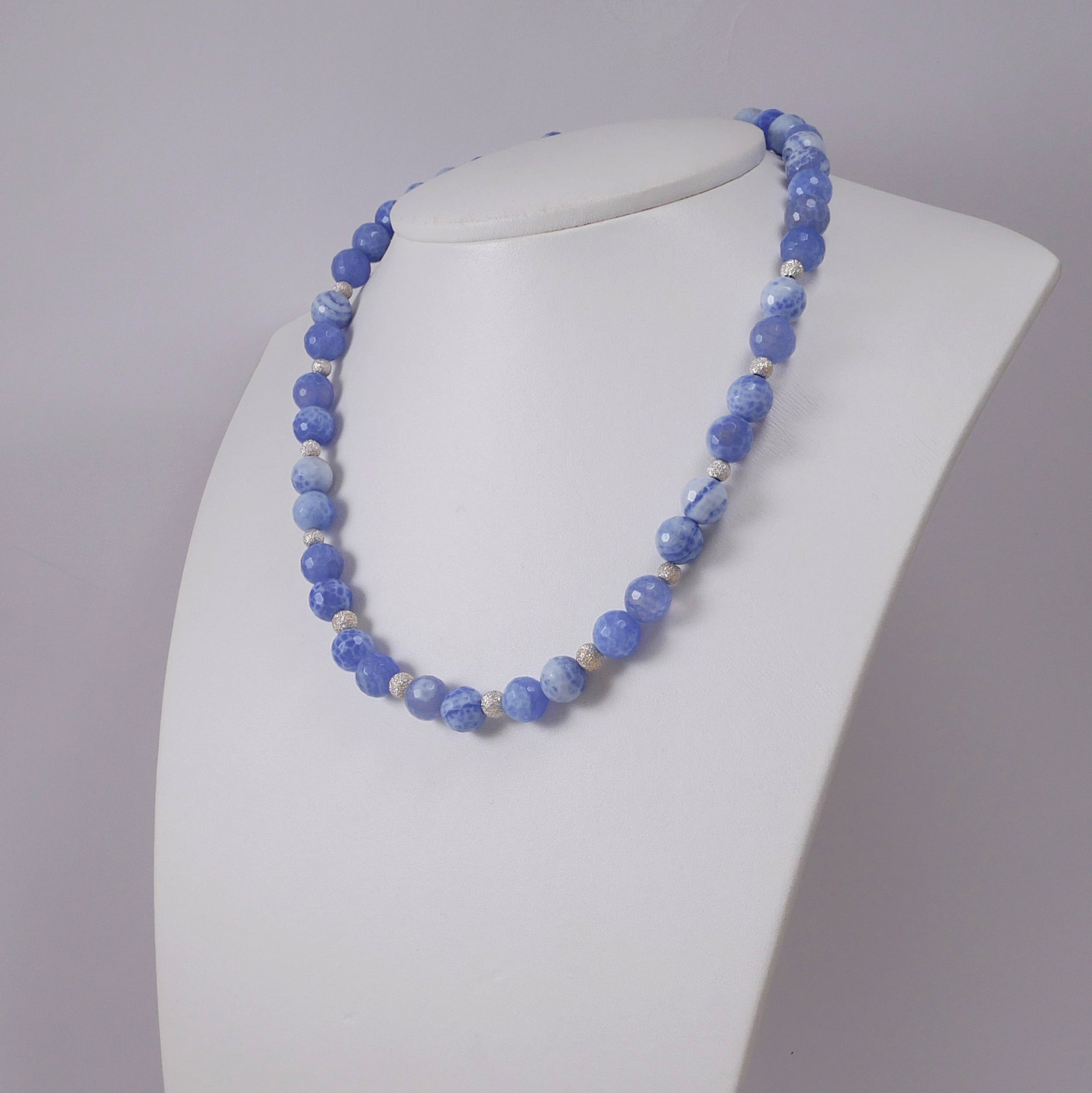 Blue Agates and Sterling Silver Necklace - Katerina Roukouna