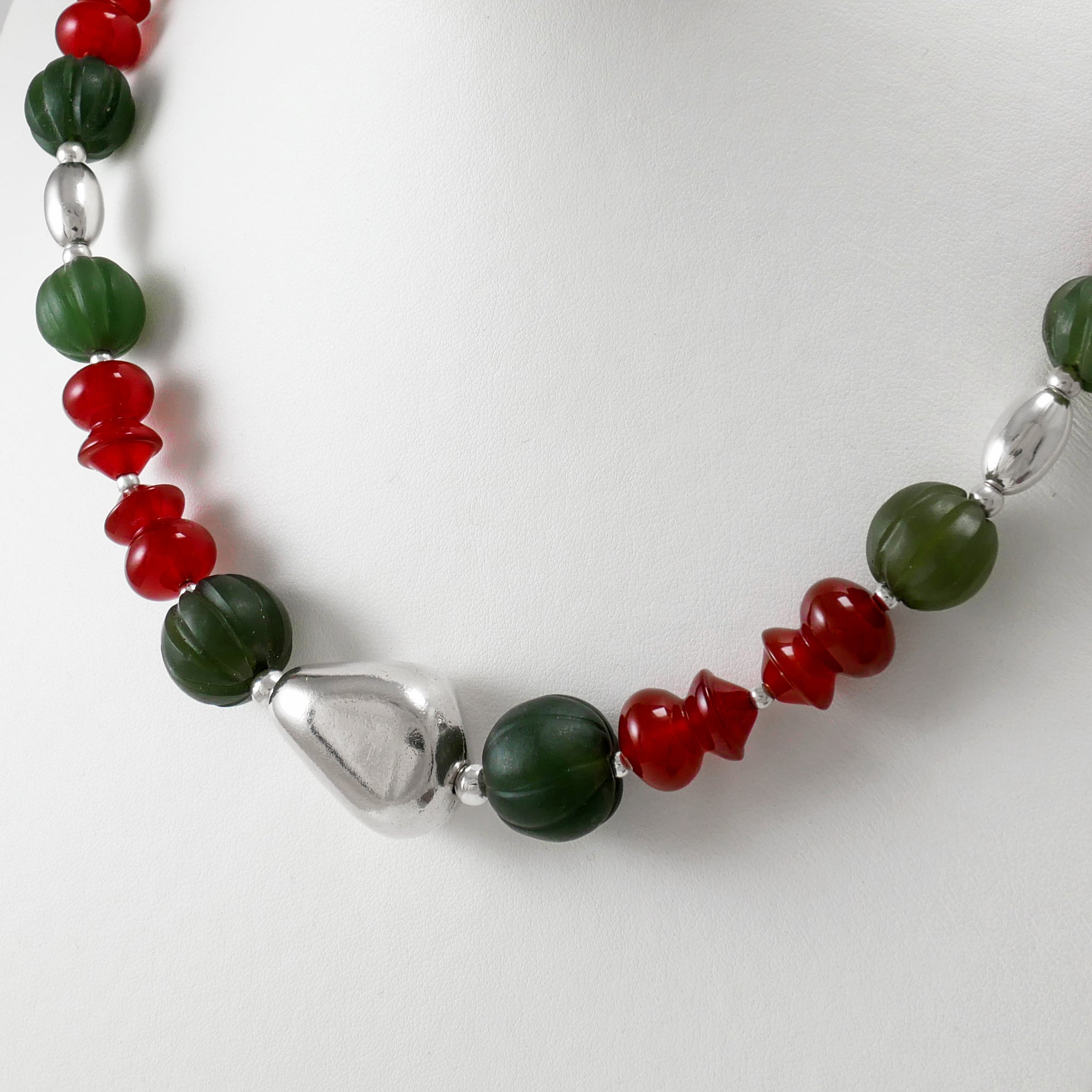 Carnelians & Jade Beads Necklace - Katerina Roukouna