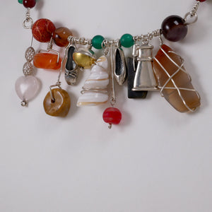 Multi-Color Necklace w' Sterling Silver Elements & Gemstones - Katerina Roukouna