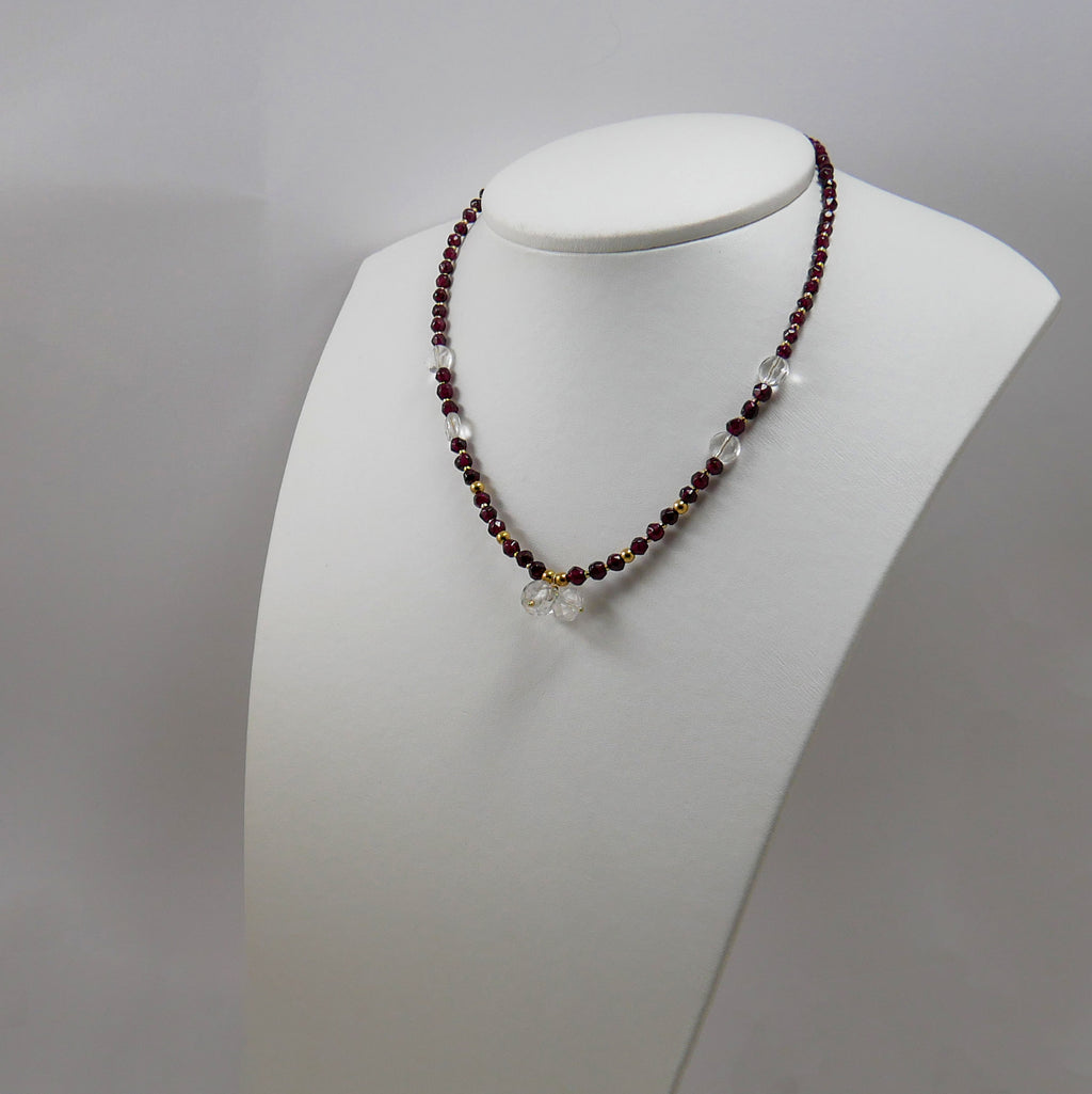 Garnets, Quartz & Gold Plated Silver Necklace - Katerina Roukouna