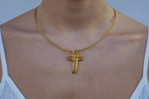 Double Designed Cross (Gold Plated) - Katerina Roukouna