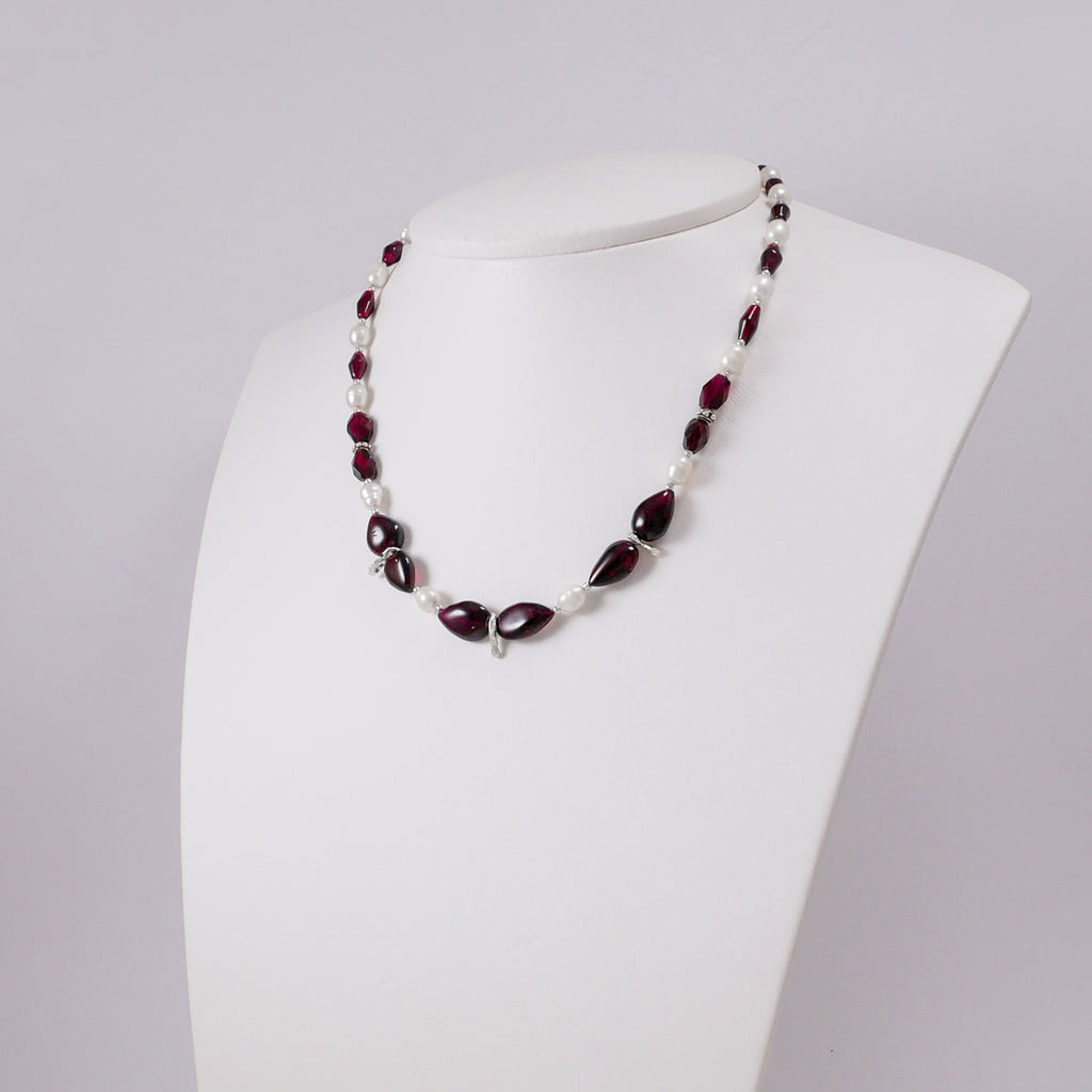 Drop Shaped Garnets, Pearls, and Melted Silver Necklace - Katerina Roukouna