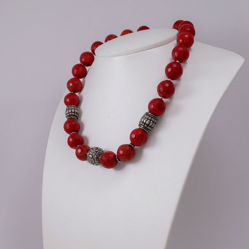 Ethnic Style Corals and Sterling Silver Necklace - Katerina Roukouna