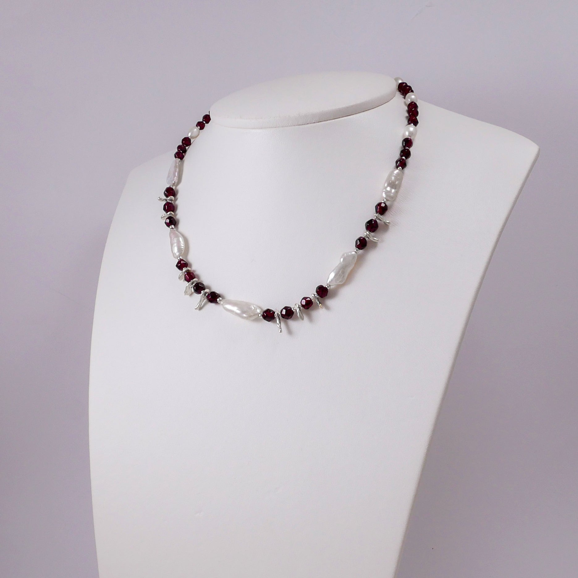 Faceted Garnets, Pearls, and Sterling Silver Necklace - Katerina Roukouna