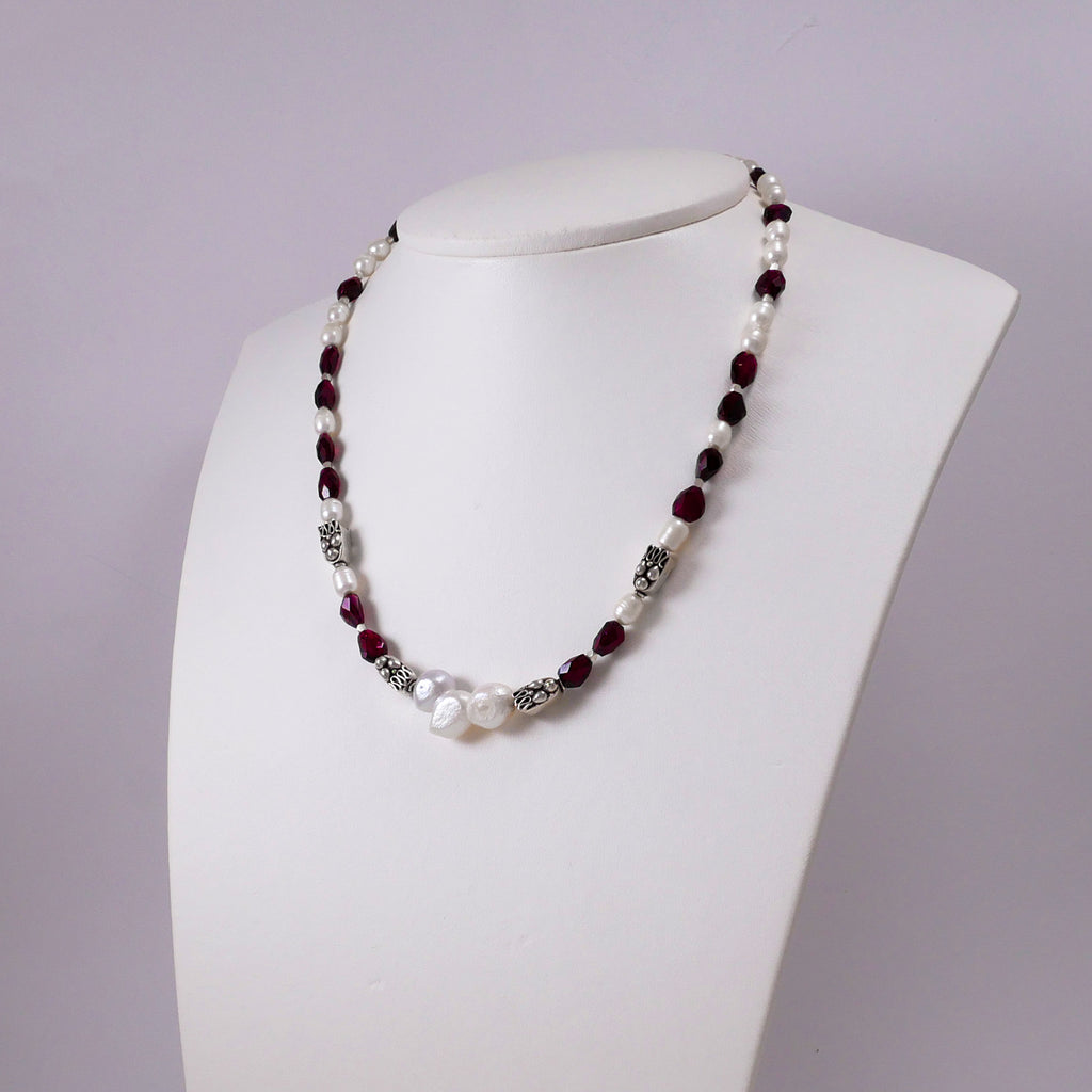 Garnets, Pearls, and Sterling Silver Necklace - Katerina Roukouna