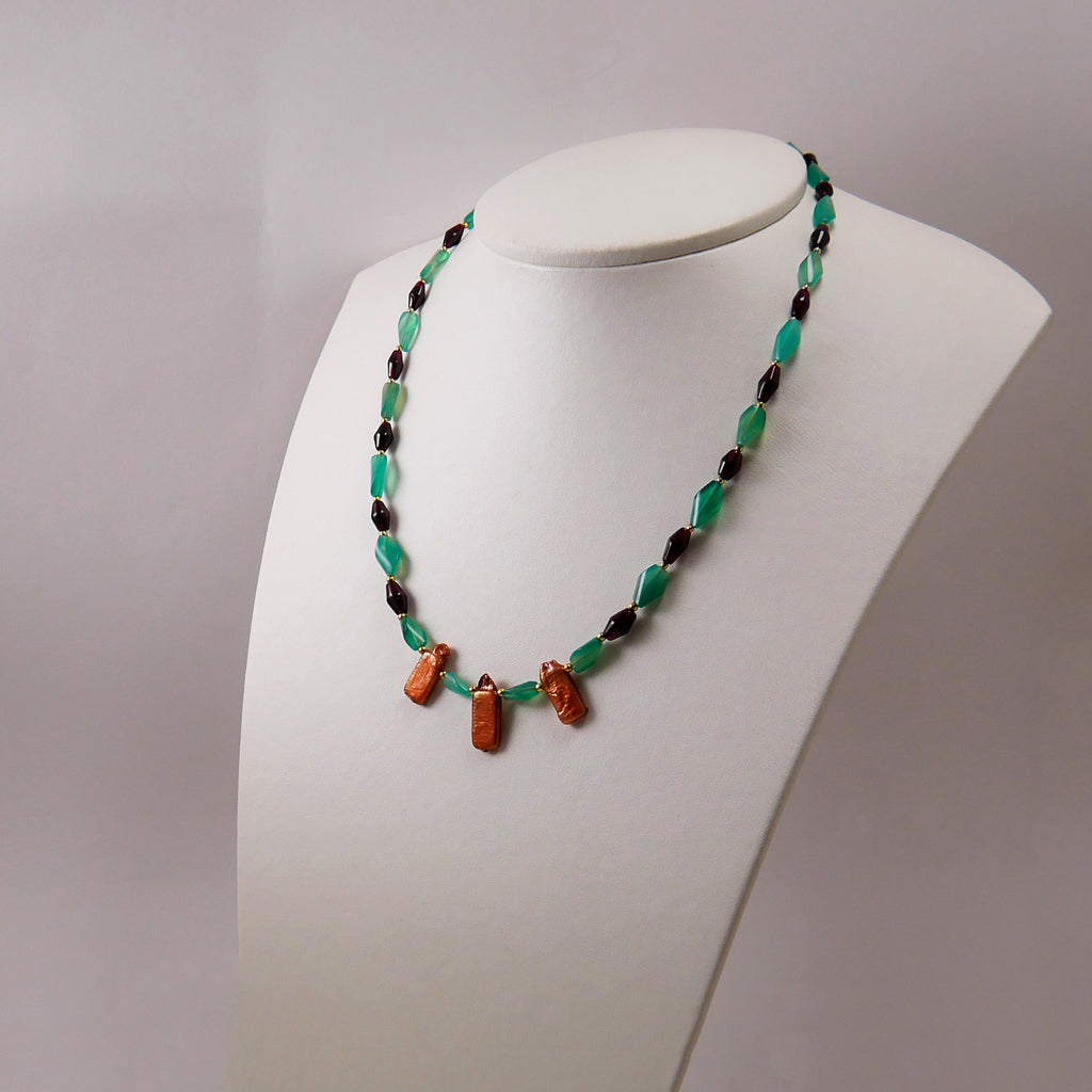 Green Agates, Garnets, Pearls & Gold Plated Silver Necklace - Katerina Roukouna