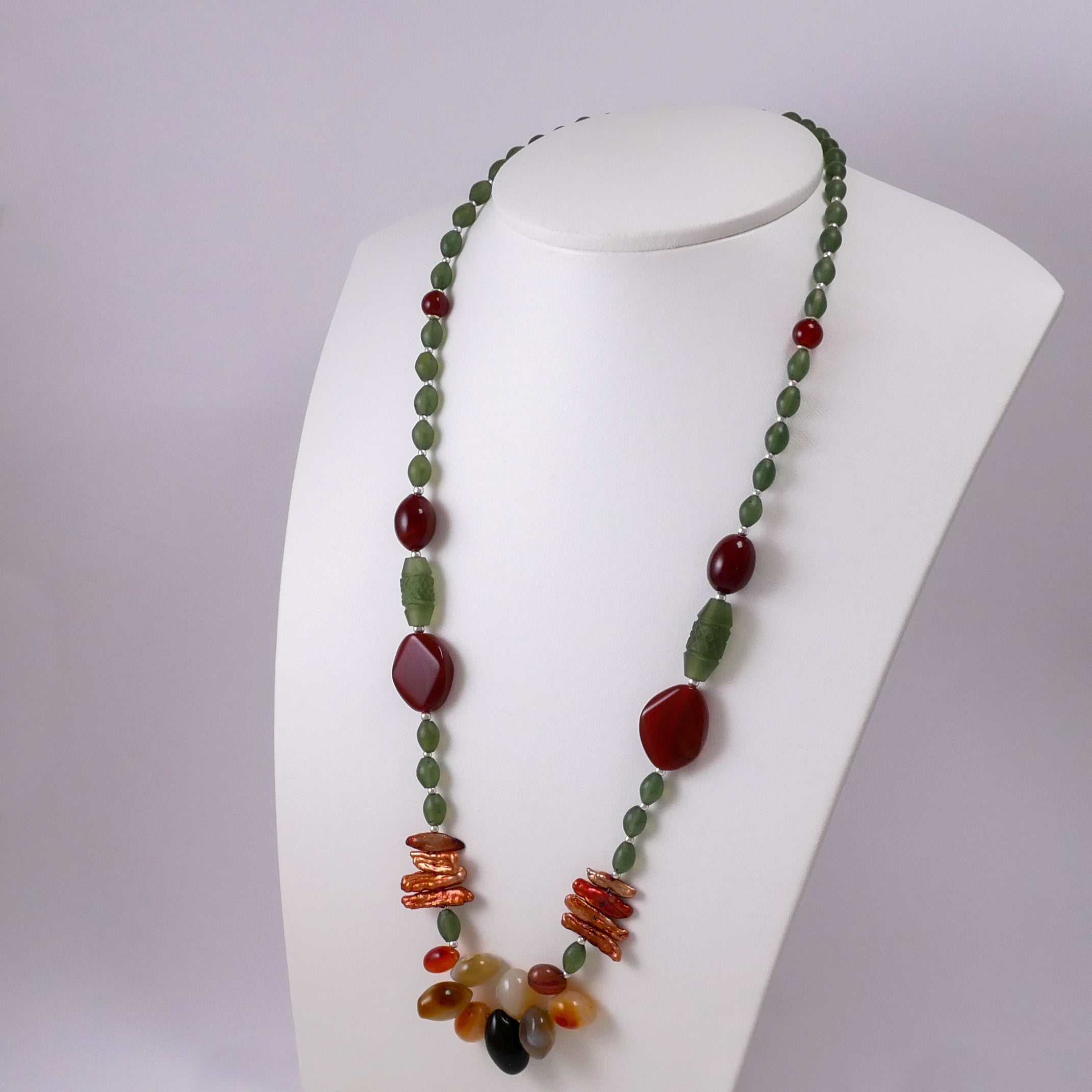 Jade, Pearls, Agates, Carnelians, and Sterling Silver Necklace - Katerina Roukouna