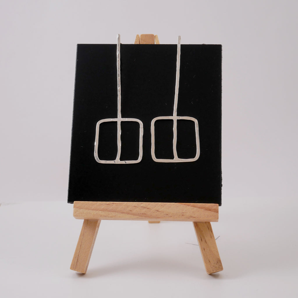 One Line Square Silver Earrings - Katerina Roukouna