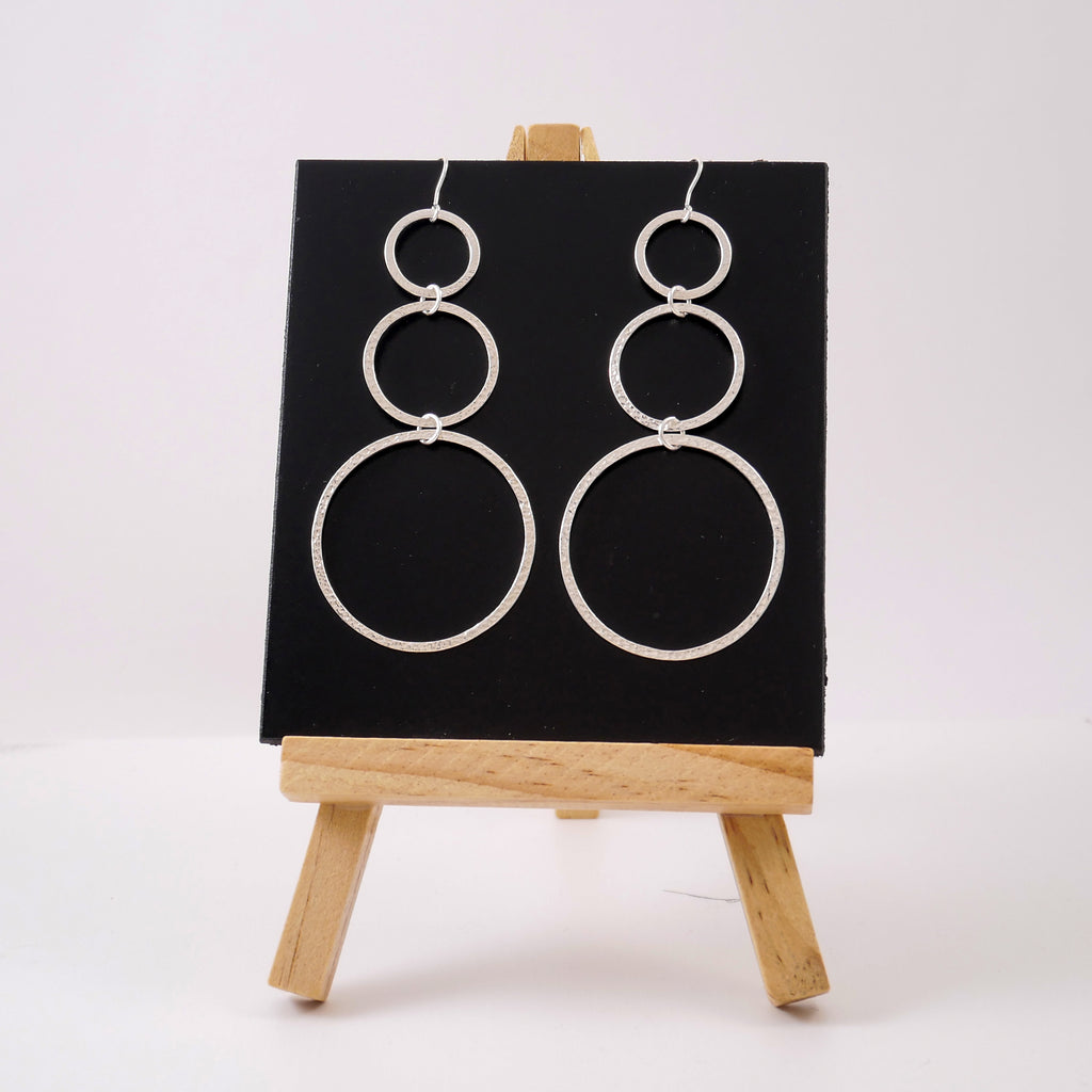 One Line Triple Circle Silver Earrings - Katerina Roukouna