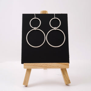 One Line Double Circle SIlver Earrings - Katerina Roukouna