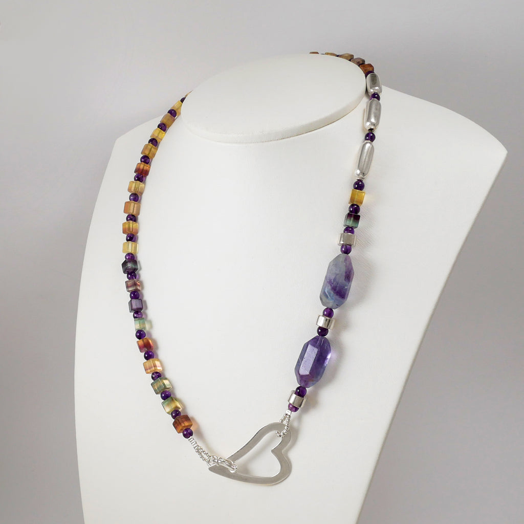 Fluorites, Amethysts, and Sterling Silver Heart Necklace - Katerina Roukouna