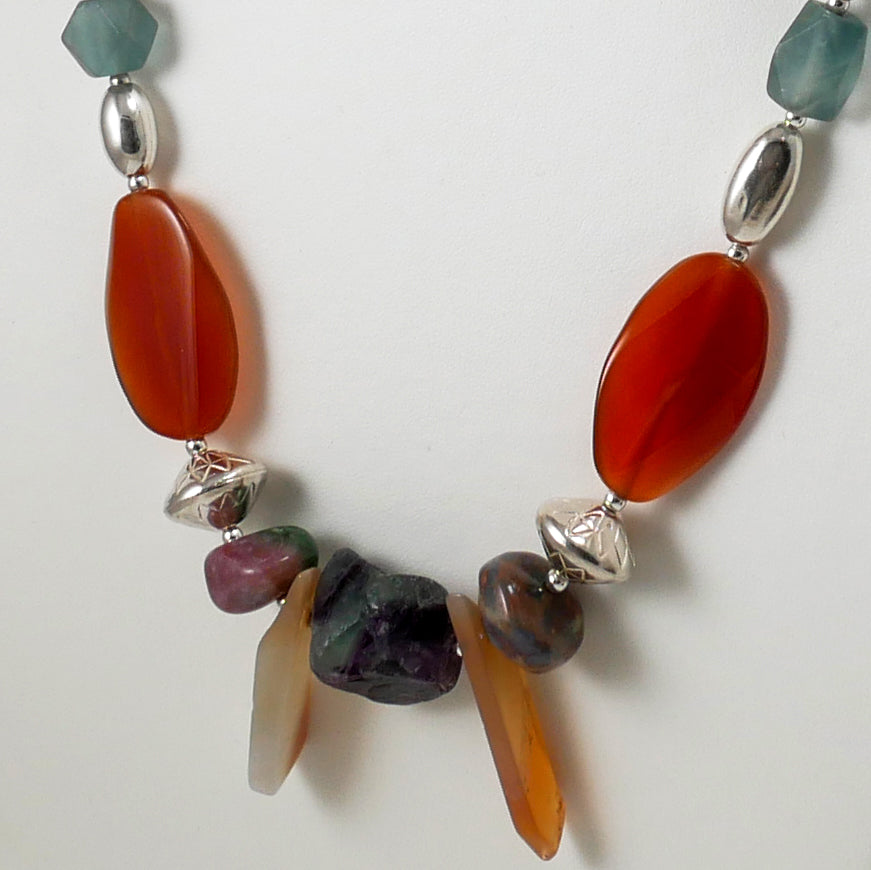 Multi-Color Ethnic Style Necklace - Katerina Roukouna