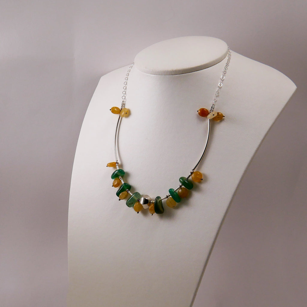 Agates, Aventurine & Sterling Silver Necklace - Katerina Roukouna