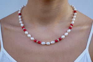 Pearls, Corals, and Sterling Silver Necklace - Katerina Roukouna