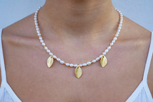 Pearls and Gold Plated Sterling Silver Leaves Necklace - Katerina Roukouna