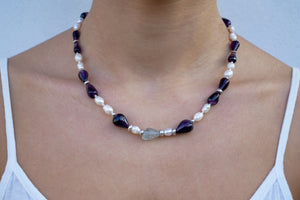 Pearls, Amethysts w' a Fluorite Necklace - Katerina Roukouna