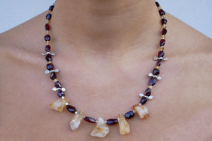 Garnets, Raw Citrines, and Sterling Silver Necklace - Katerina Roukouna