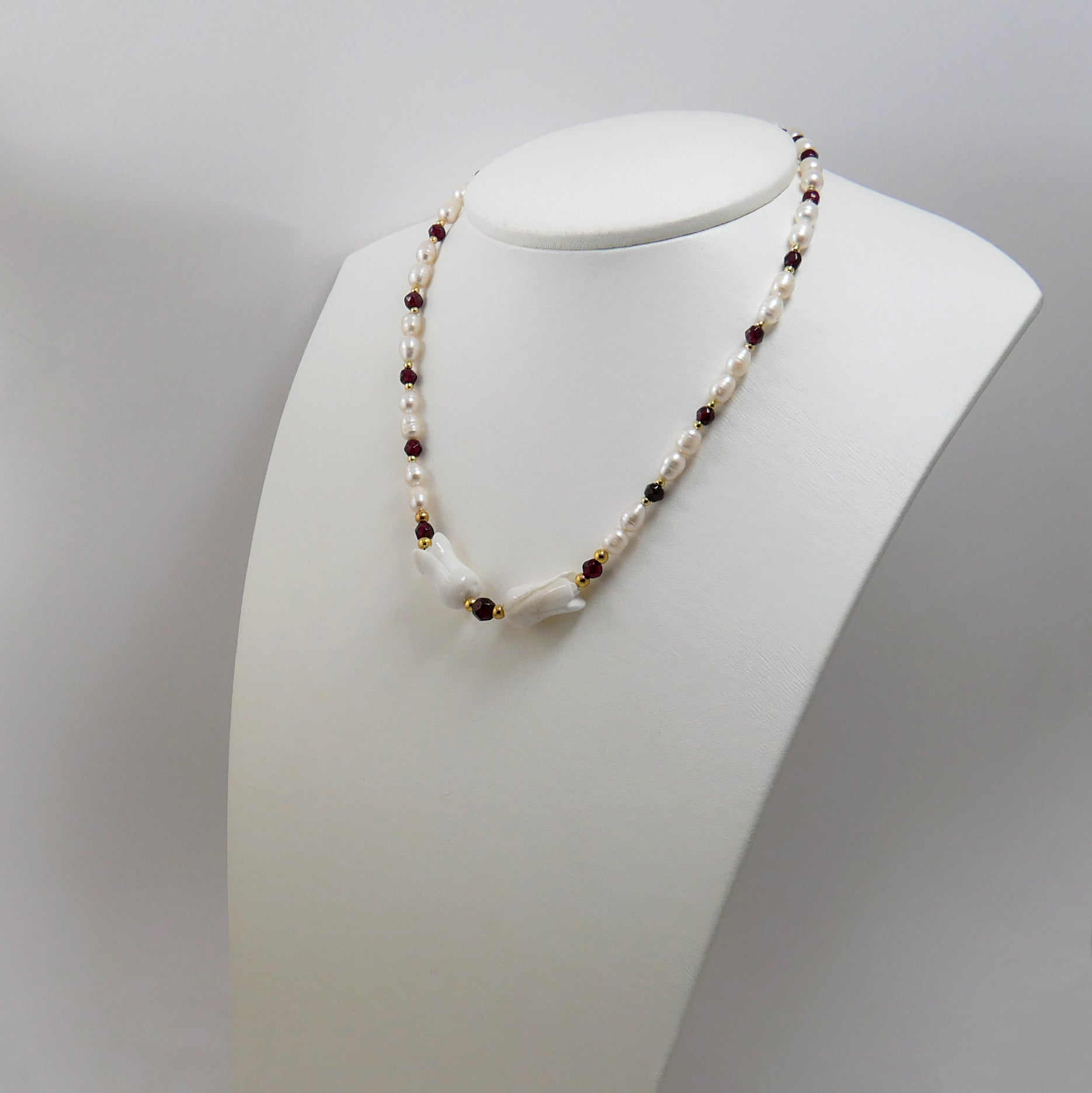 Pearls, Garnets, Mother of Pearl & Gold Plated Silver Necklace - Katerina Roukouna