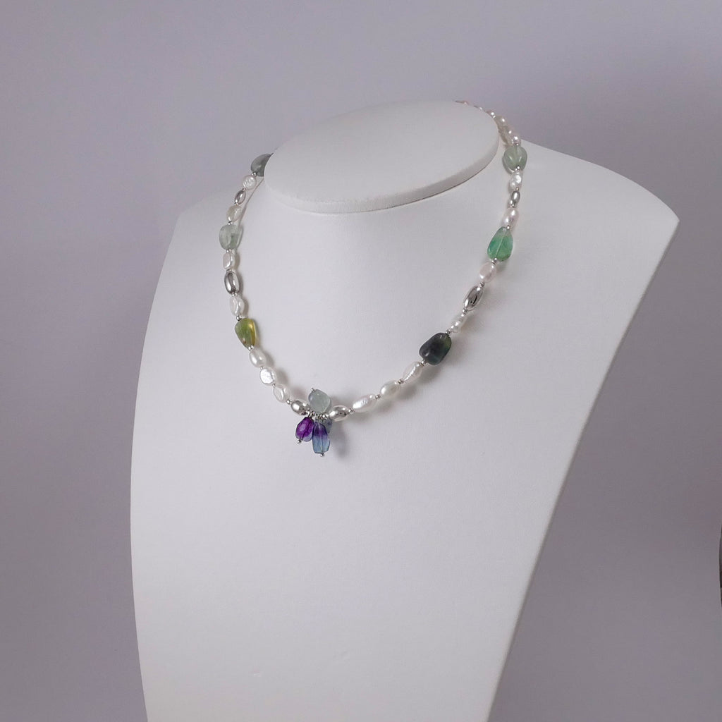 Pearls, Fluorites, and Sterling Silver Necklace - Katerina Roukouna