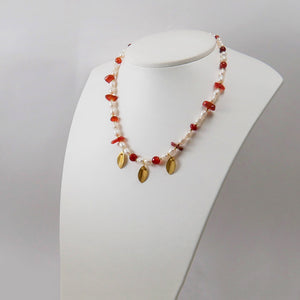 Pearls, Carnelians and Gold Plated Sterling Silver Leaves Necklace - Katerina Roukouna