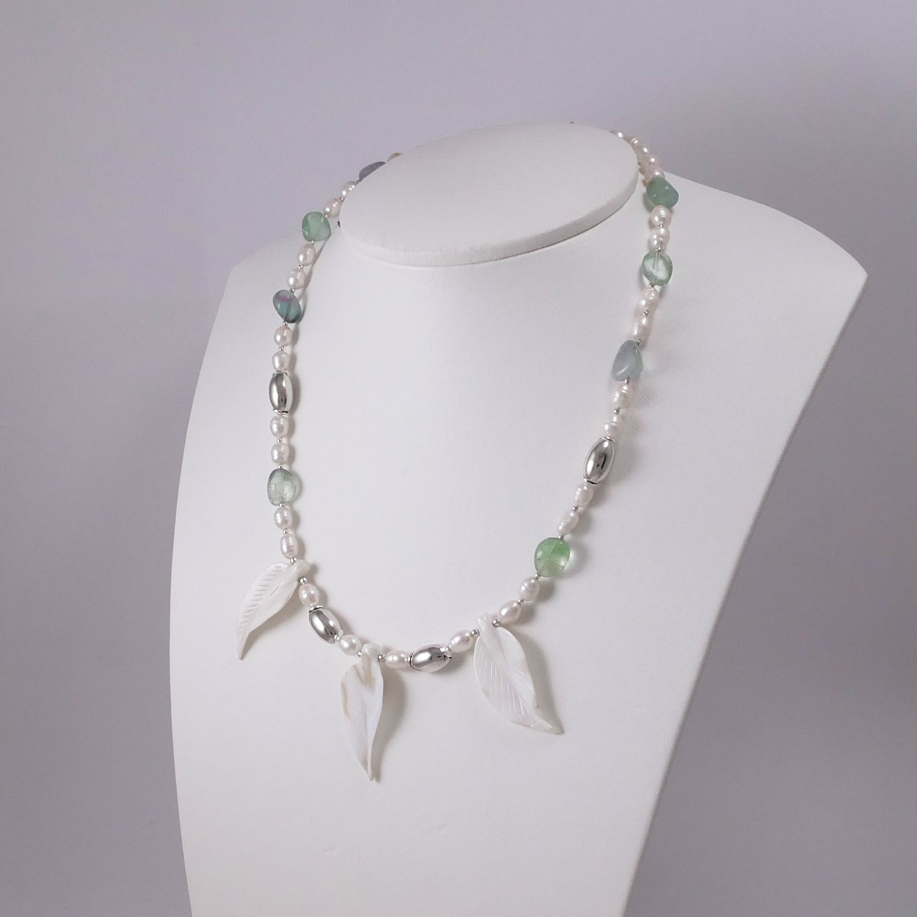 Pearls, Fluorites, Mother of Pearl Leaves, and Sterling Silver Necklace - Katerina Roukouna