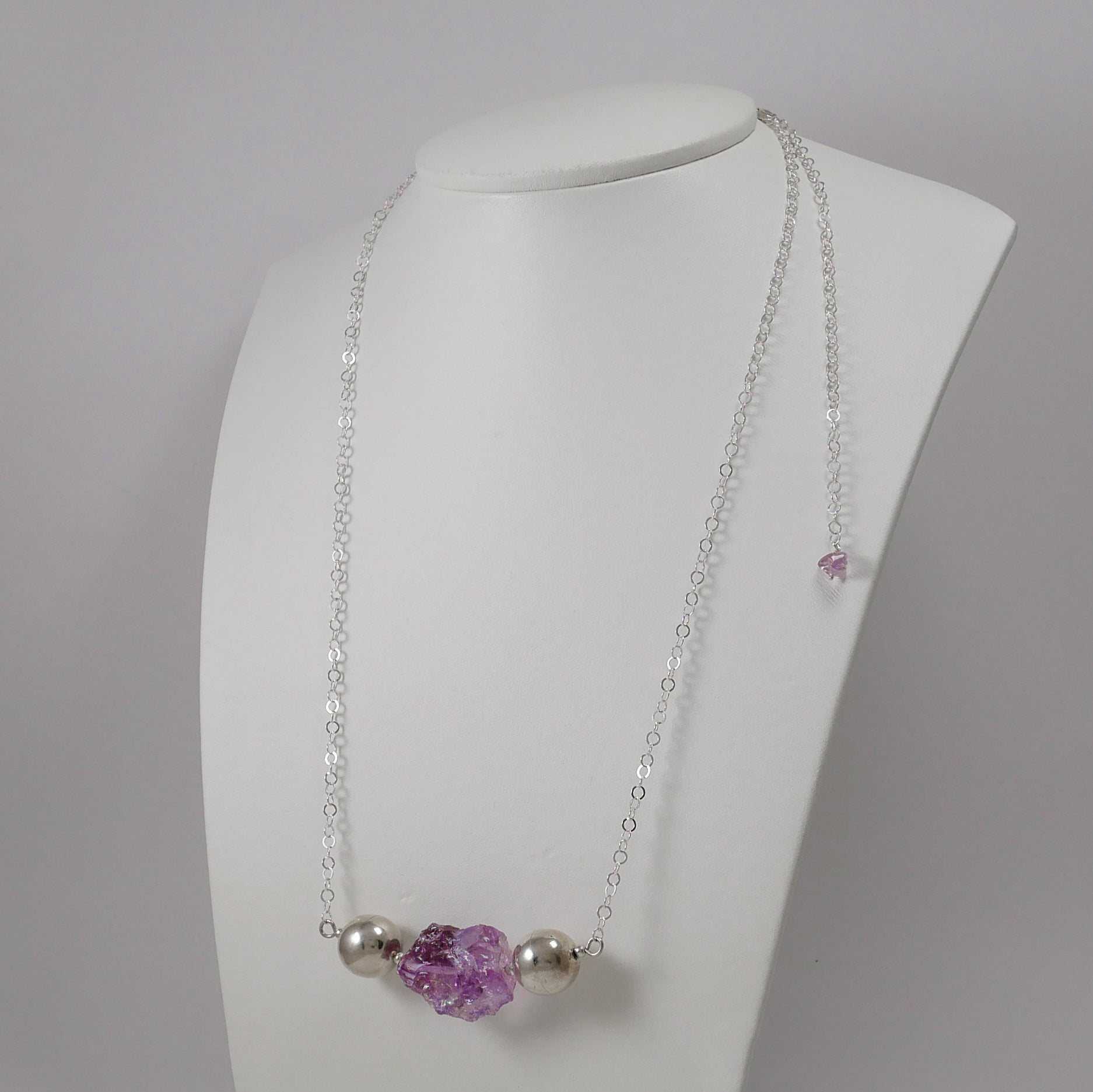 Raw Amethyst and Sterling Silver Necklace - Katerina Roukouna