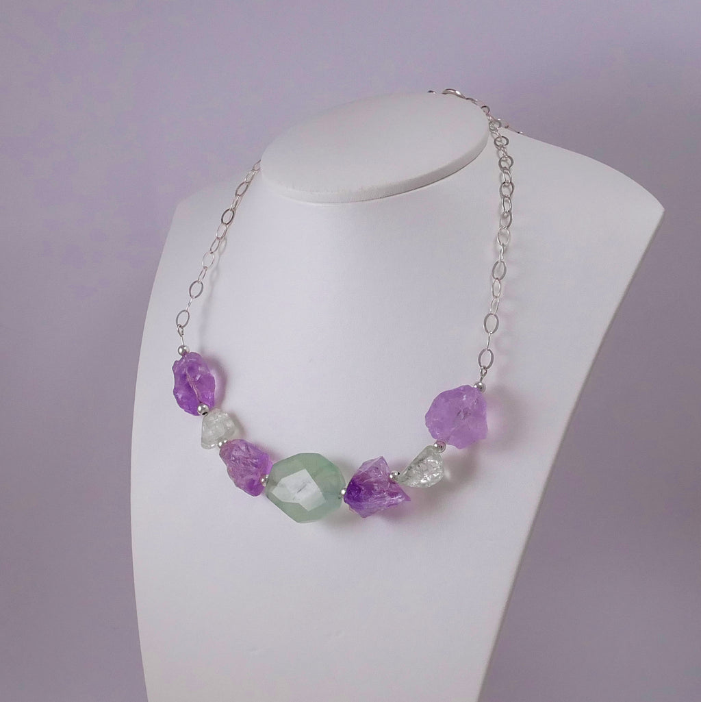 Raw Amethysts, Fluorite, Quartz, and Sterling Silver Necklace - Katerina Roukouna