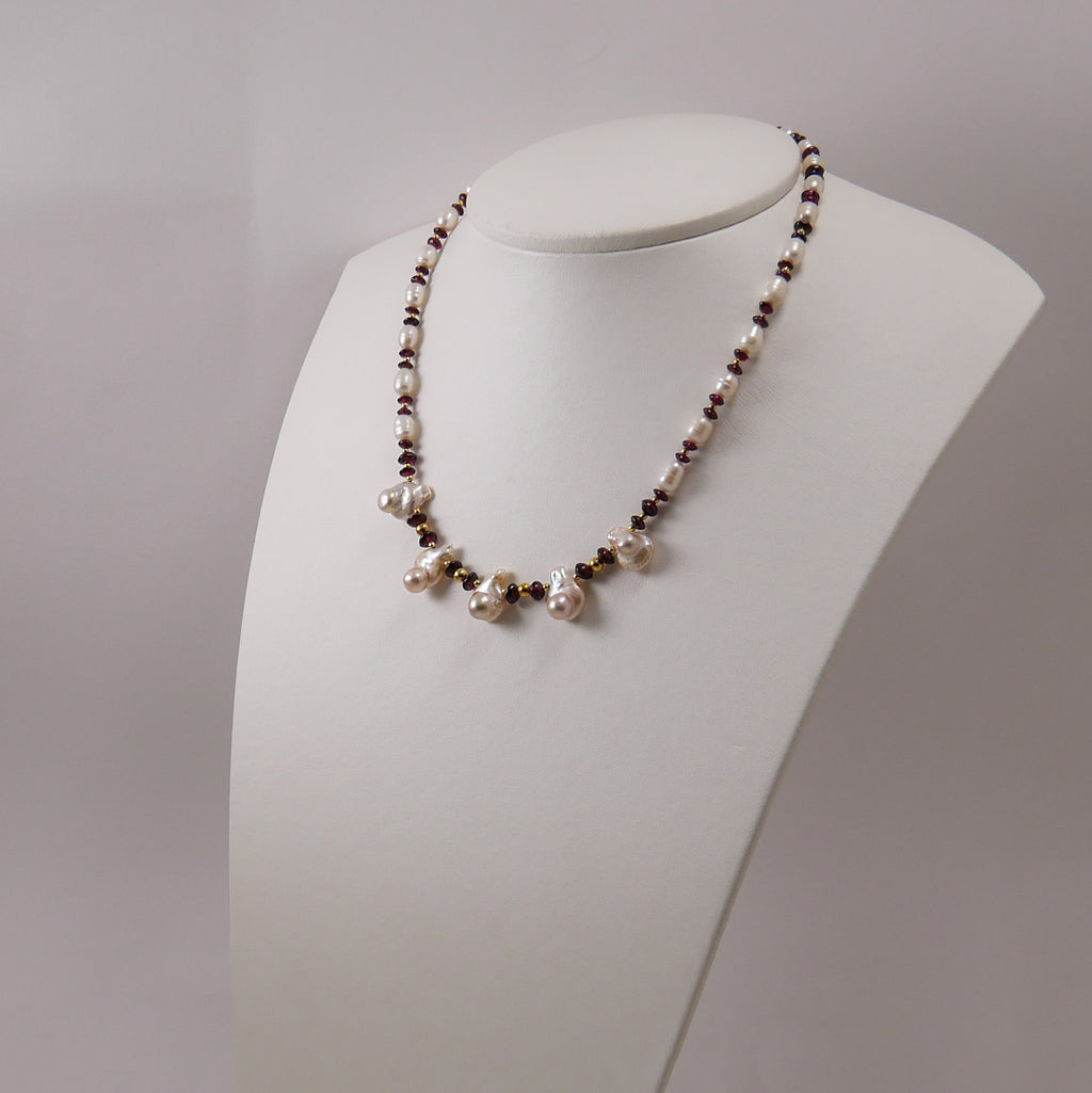 Garnets, Pearls & Gold Plated Silver Necklace - Katerina Roukouna
