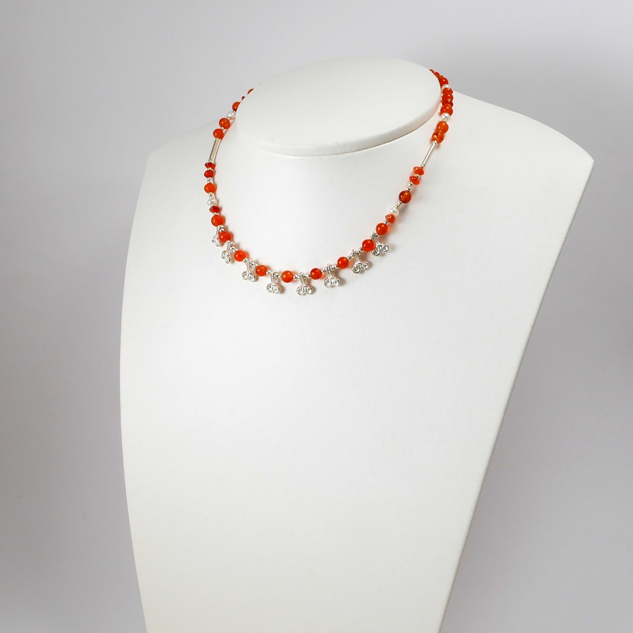 Carnelians, Pearls, and Silver Lilies Necklace - Katerina Roukouna