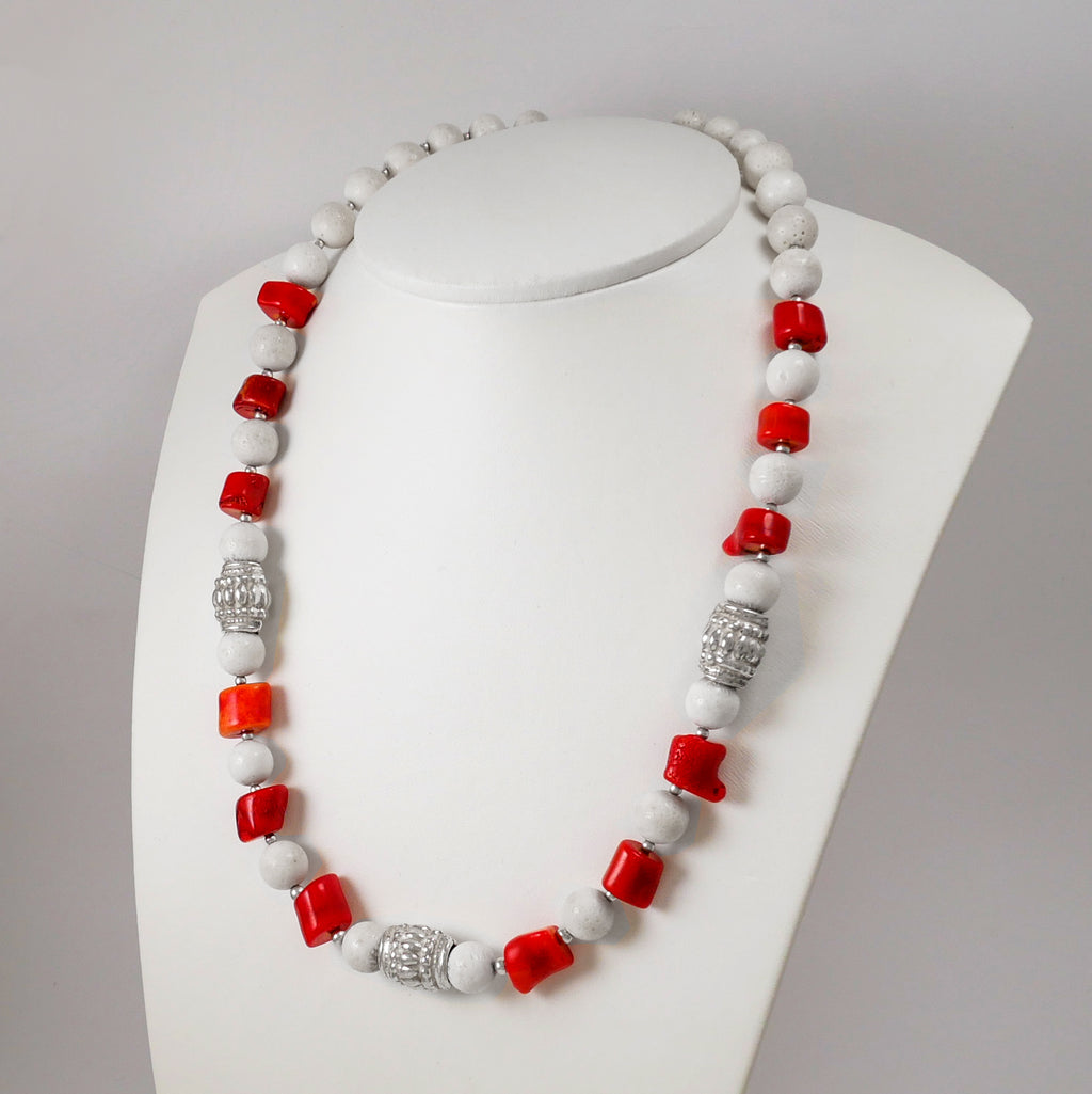 White and Red Corals Necklace - Katerina Roukouna