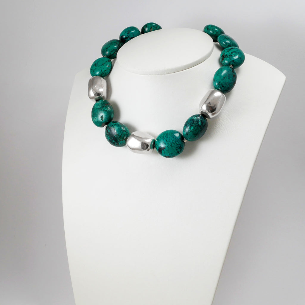 Turquoise & Sterling Silver Pebbles Necklace - Katerina Roukouna